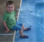 Boy shoes in pool